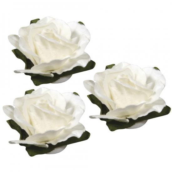 Witte hobby bloemen van papier 2 5 cm