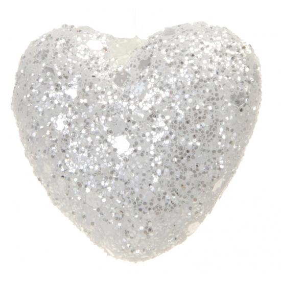 Zakje witte decoratie hartjes met glitters
