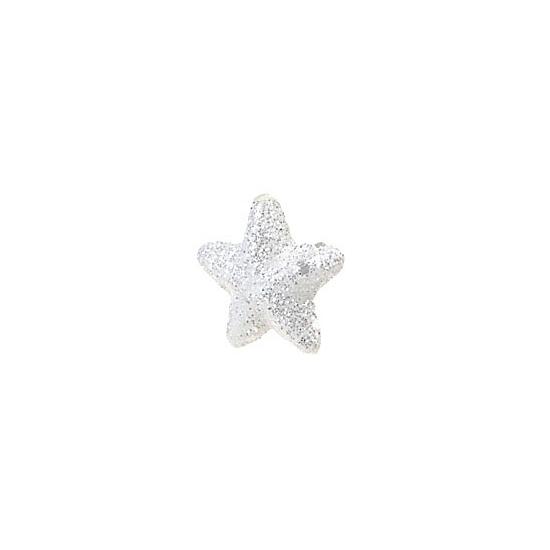 Zakje witte decoratie sterretjes met glitters