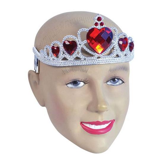 Zilveren dames tiara met rode harten