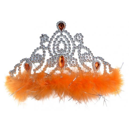 Zilveren kroontje met oranje stenen en veren