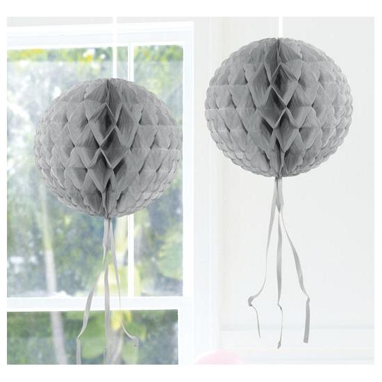 Zilveren versiering bol 30 cm