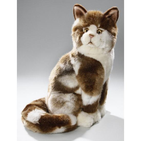 Zittende bruin bonte katten knuffel