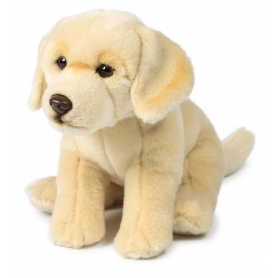 Zittende labrador knuffel 26 cm creme