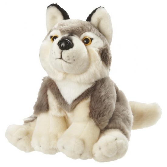 Zittende pluche wolf grijs wit 18 cm