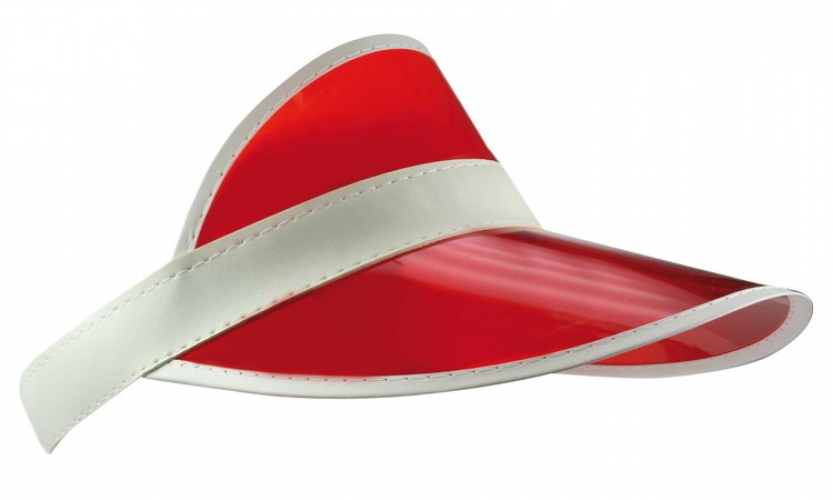 Zonneklep van plastic in de kleur rood