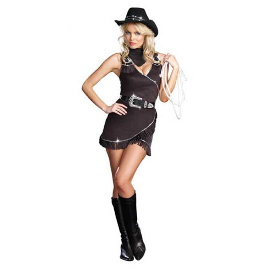 Zwart cowboy kostuum voor dames