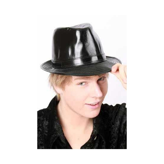 Zwart glimmende hoed