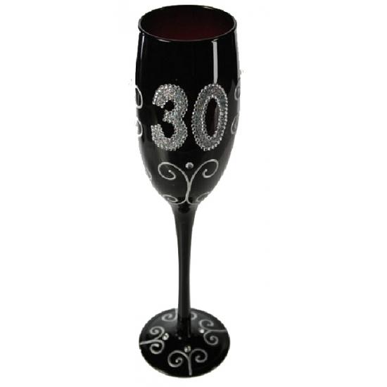 Zwart glitter glas 30 jaar
