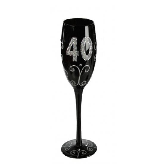 Zwart glitter glas 40 jaar