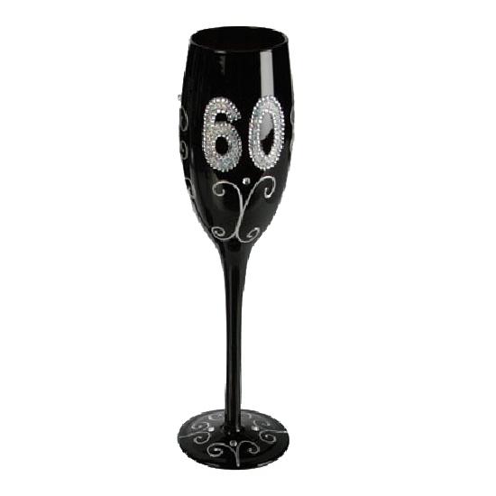 Zwart glitter glas 60 jaar