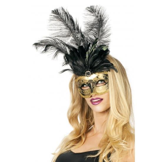 Zwart met goud veren oogmasker
