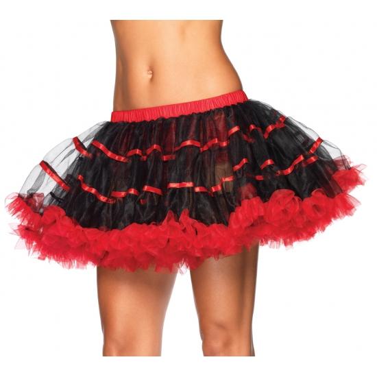 Zwart met rood luxe petticoat