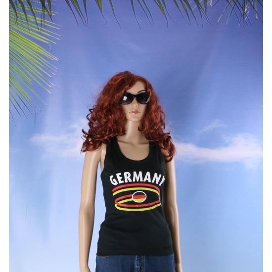 Zwart mouwloos shirt met Duitsland print