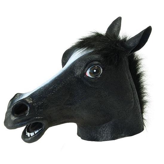 Zwart paarden masker van rubber