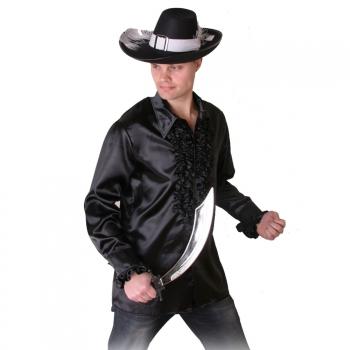 Zwart piraten ruches shirt voor heren