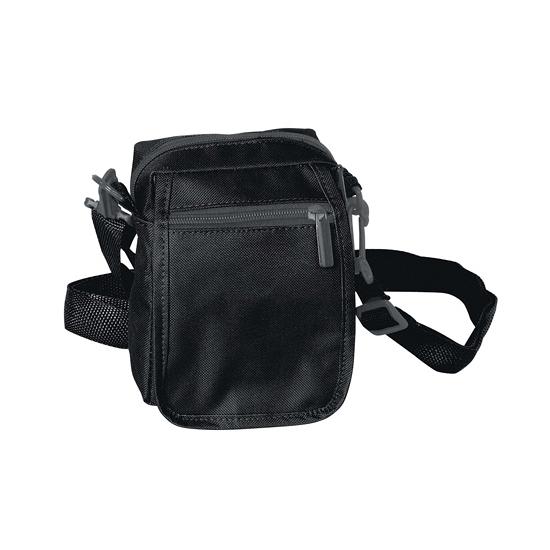 Zwart schoudertasje met rits 15 cm