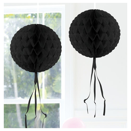 Zwart versiering bol 30 cm