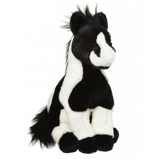 Zwart wit paard knuffeldier 34 cm
