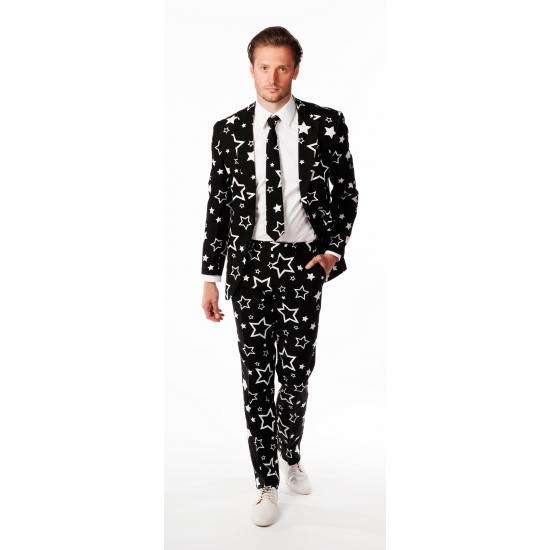 Zwarte business suit met sterren print