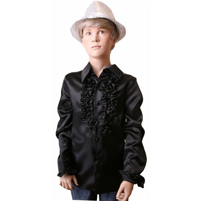 Zwarte disco blouse voor jongens