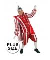 Grote maat prins carnaval kostuum rood wit