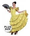 Grote maat spaanse flamencojurk geel met zwarte stippen