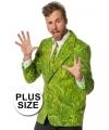 Grote maten heren kostuum gras colbert en stropdas