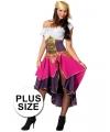 Grote maten roze zigeunerin kostuum voor dames