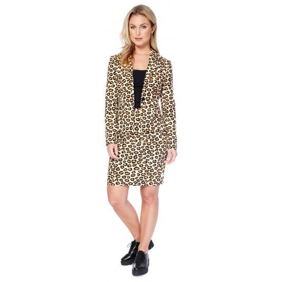 5366beda0e5 Bruine business suit met luipaard print voor dames | Zeer voordelige ...