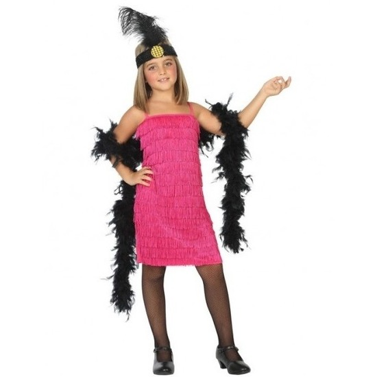 759009b0b0eb87 Flapper franje verkleed kostuum jurkje roze voor meisjes