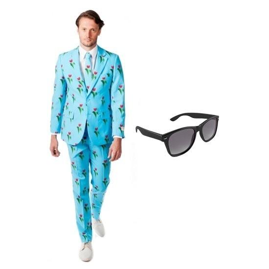 30cd3327057 Feest tulpen print tuxedo/business suit 48 (M) voor heren met gratis  zonnebril