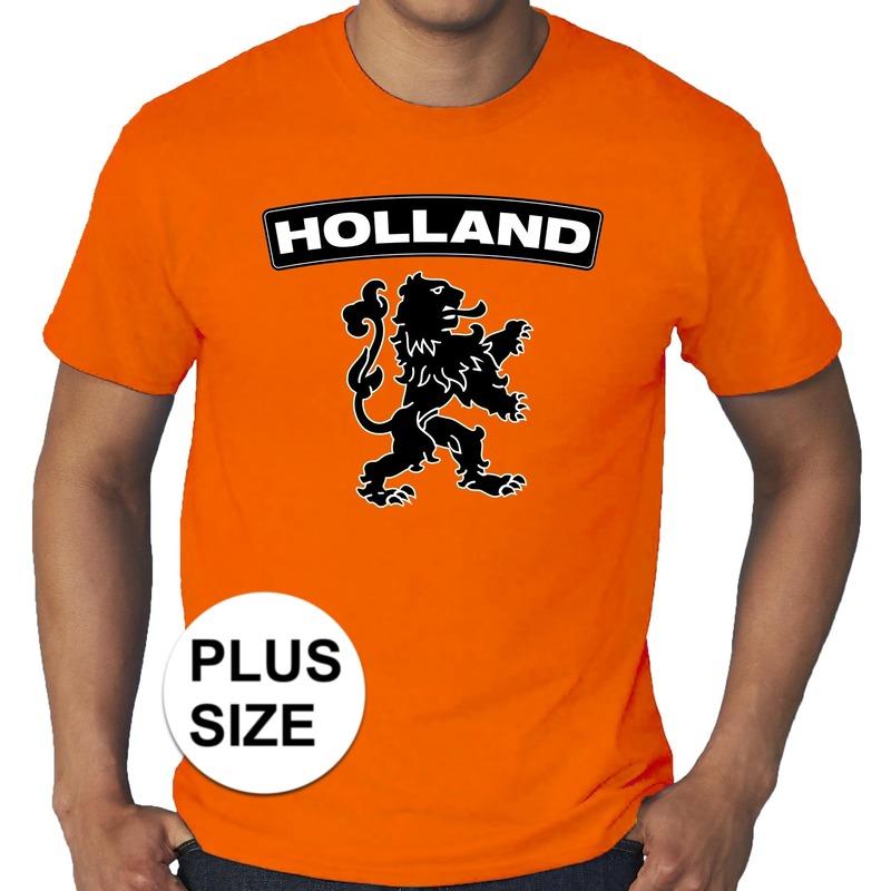 ecc5e6b6a79 Oranje Holland shirt met zwarte leeuw grote maten shirt heren   Zeer ...