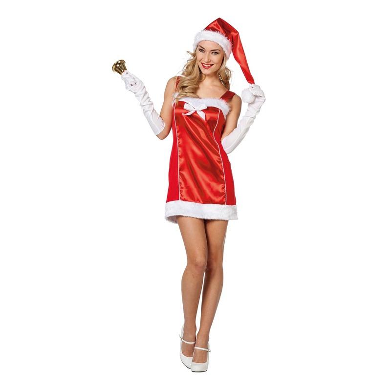 ecf08f680c4034 Rode sexy Kerstvrouw jurk met kerstmuts voor dames
