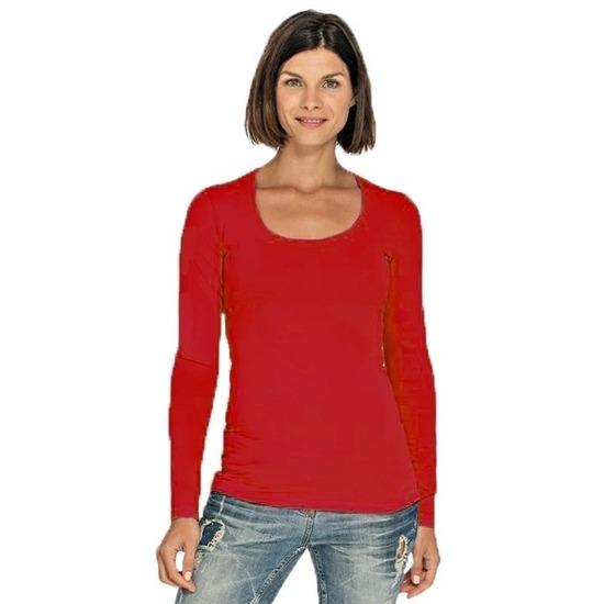 de3a6a95491 Bodyfit rode dames shirts met lange mouwen | Zeer voordelige grote ...