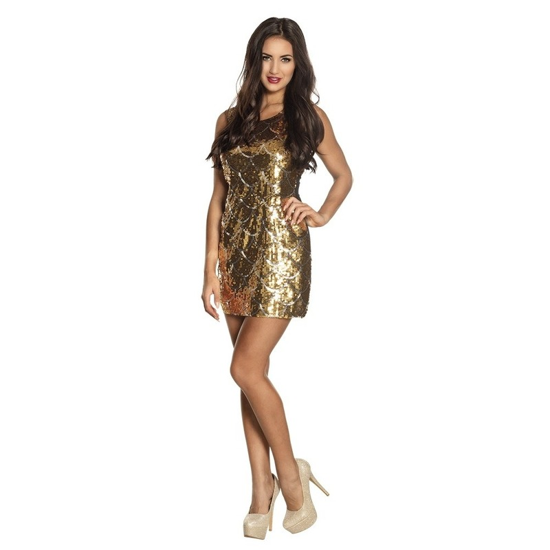 e800434c6d364c Gouden glitter jurkjes voor dames