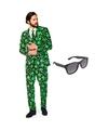 Cannabis print heren kostuum maat 56 xxxl met gratis zonnebril