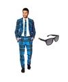 Heren kostuum met schotse print maat 56 3xl met gratis zonnebr