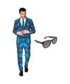 Schotse print heren kostuum maat 56 xxxl met gratis zonnebril